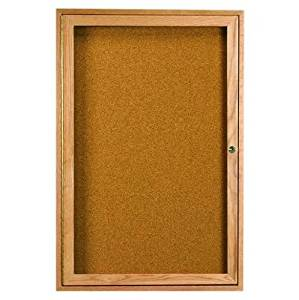 "Enclosed Wall Mounted Bulletin Board Frame Color: High Gloss Clear Laquer, Number of Doors: One, Size: 24"" H x 18"" W"