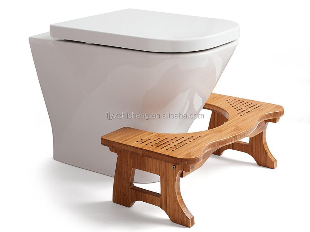 Di bambù wc passo sgabello eco friendly poggiapiedi per adulti e