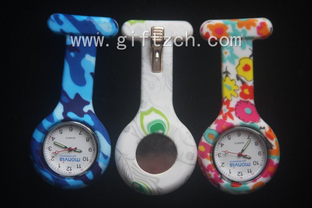 Fower full Pattern print Metal clip silicone nurse watch (SN005015)