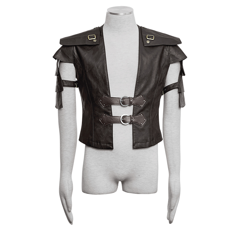 Y-632 Coffee Cool Spring Military Uniform Soldier Short Leather Man Steampunk Waistcoat Vest Jackets