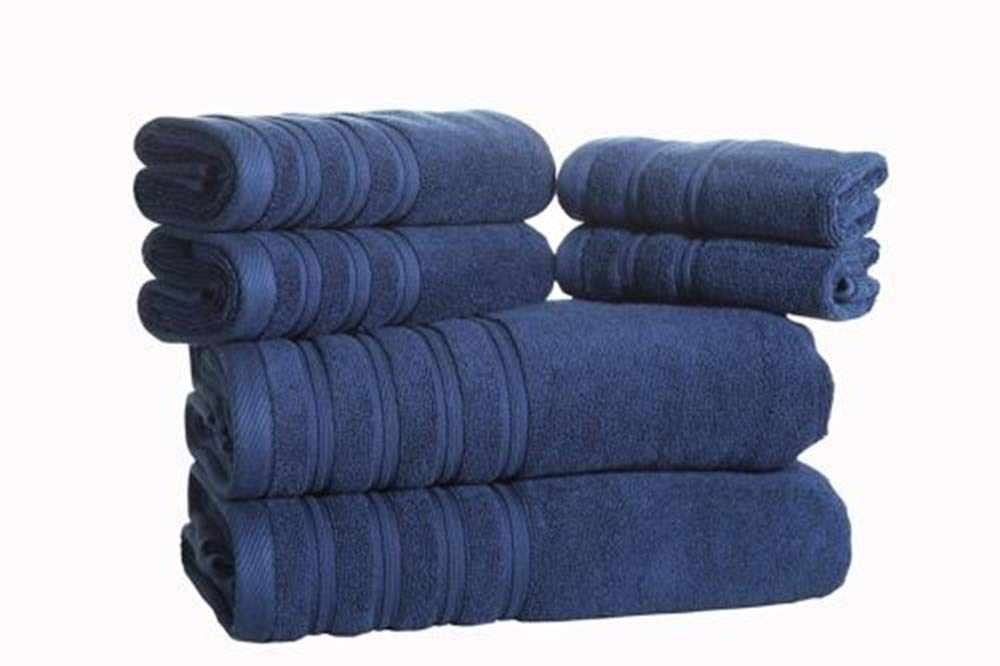 MY HOPE Cotton 100% Towel Set 6 Pcs Hotel Quality, Excellent Softer and Fade-Resistant Navy Blue Color
