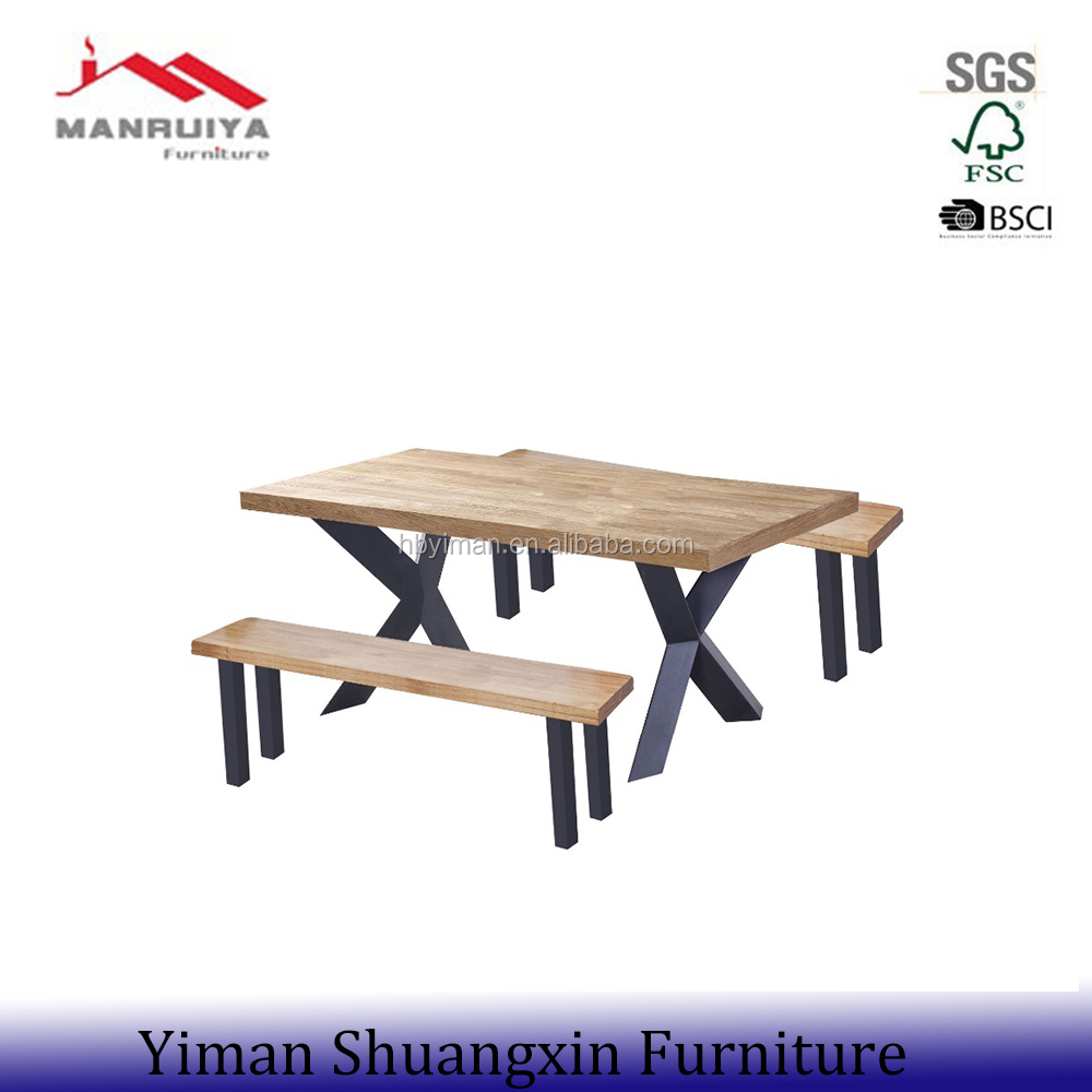 modern style wooden dining table mdf cover with oak VENEER; metal legs in black powder coating;