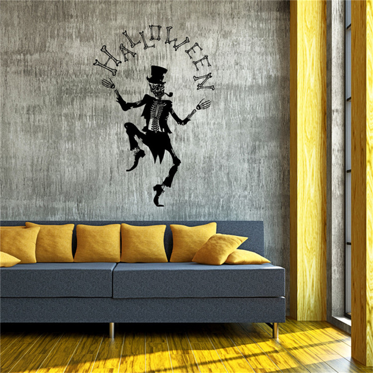 Halloween decoration clown white bone Wall Stickers home party decorations pvc self-adhesive removable wall decals murals