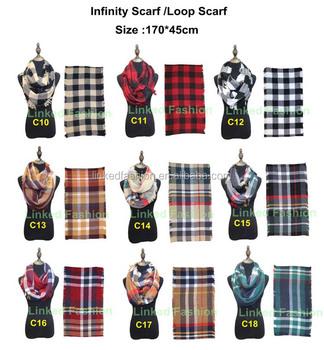 23c287256 2018 Lady Women Fall Winter Infinity Blanket Oversized Shawl Plaid blanket  scarf