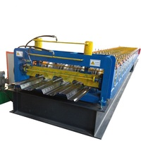 Hydraulic decoiler metal deck roll forming machine/ cold rolled steel floor decking equipment
