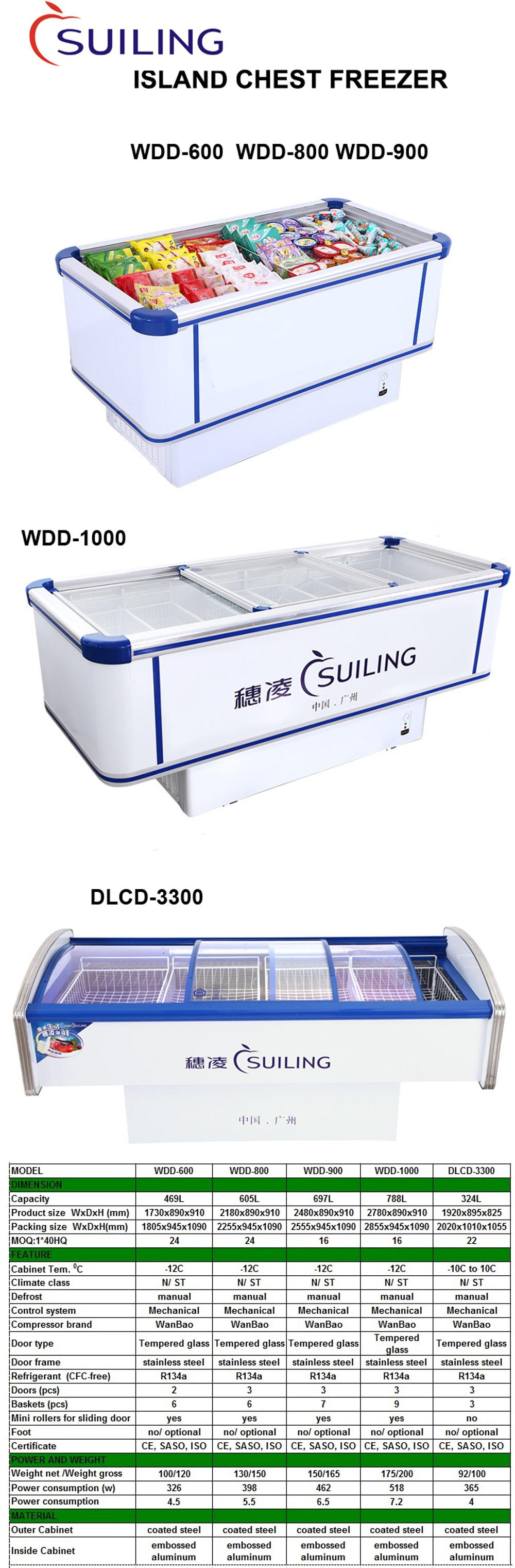 Suiling 469l Glass Top Supermarket Island Chest Freezer Wdd 600 100 Box