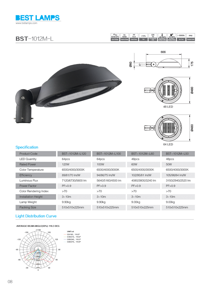 anti impact ce rohs certificate led street light simple operation