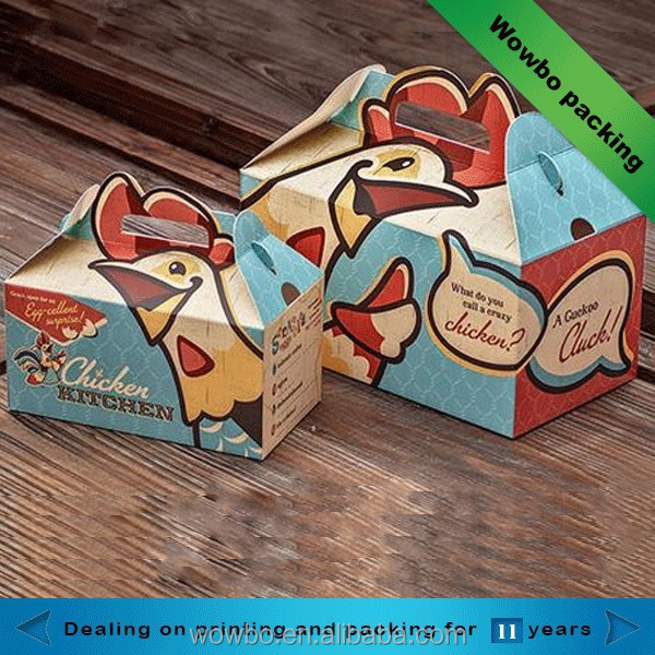 Fancy custom printed different sized fried chicken paper packaging box with handle