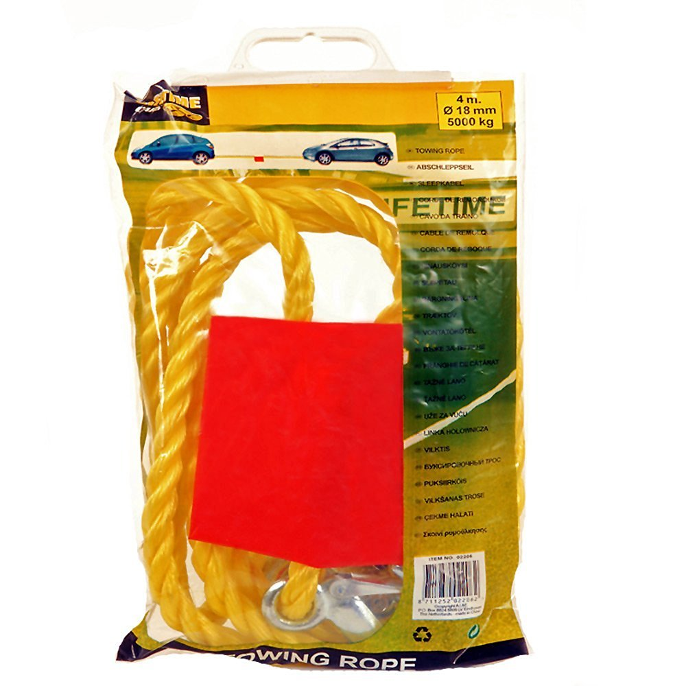 Autocare 2000kg Tow Rope Yellow Includes On Tow Sign