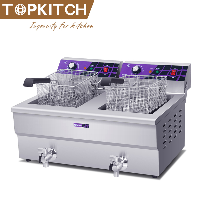 Commercial 2 Tanks 2 Baskets Deep Electric Pressure Chicken Fryer