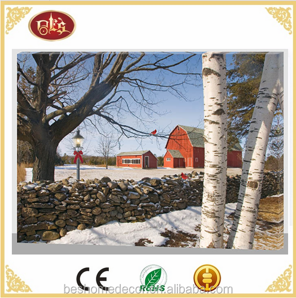 LED Lighted Cardinals Winter Canvas Art Snow Scene Wall Canvas Picture