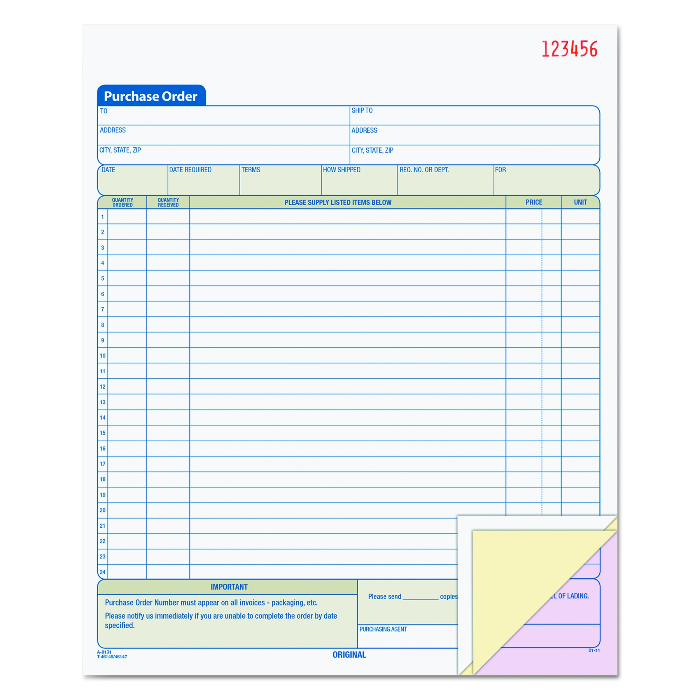 TOPS Purchase Order Book, 3-Part, Carbonless, 8-3/8 x 10-3/16 Inches, 50 Sets per Book (46147)
