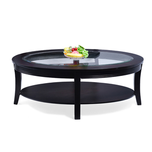 Modern Oval Solid Wood Coffee Table with Glass Top