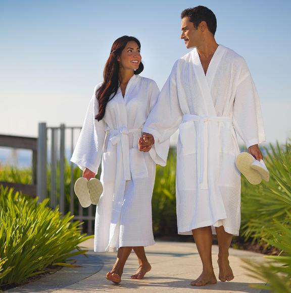 100 Cotton Hotel White Bathrobe Luxury Towelling Dressing Gown - Buy ...