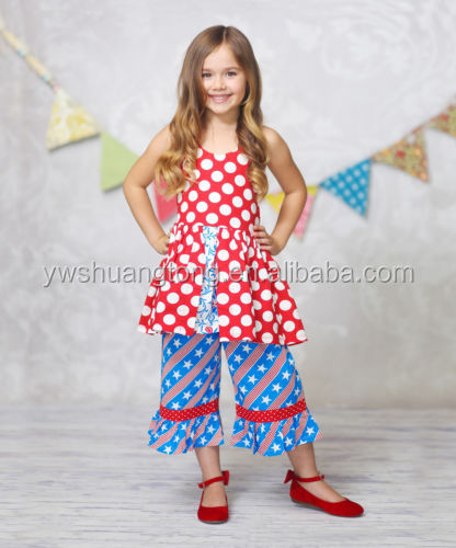 Boutique Girls 4th of July Outfit Wholesale Kids Cotton Anchor Chevron Ruffle Pants Clothing Sets
