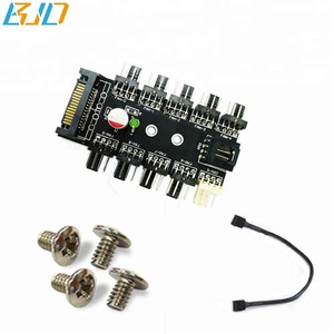Computer fan speed regulator 1 to 10 Channel Hub 4PIN Chassis Fan 12v 3pin/4pin fan power IDE/SATA interface