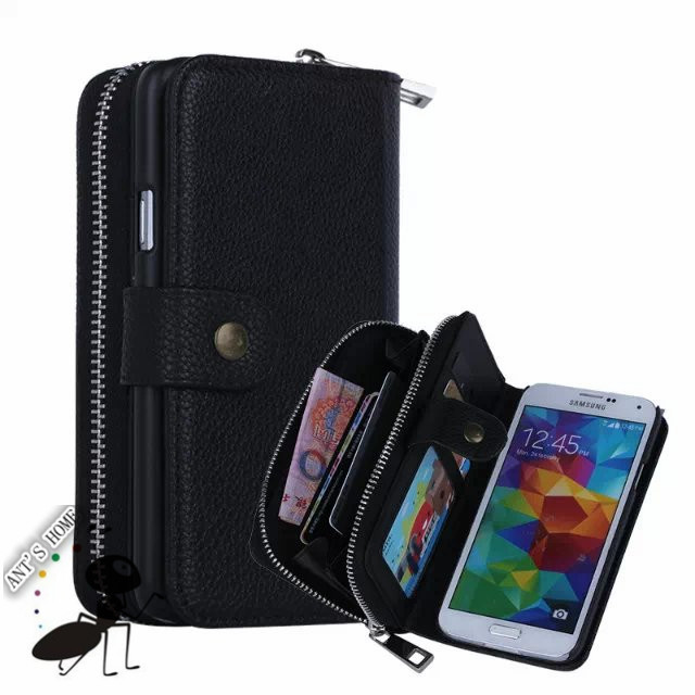Fashion Zipper 2 in 1 Fundas For Samsung Galaxy S5 Case Cover Flip Luxury Leather Cell Phone Cases For Samsung Galaxy S5 G9006