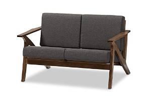 Baxton Studio Genie Mid-Century Modern Wood Grey Fabric Living Room 2-Seater Loveseat Settee, Walnut