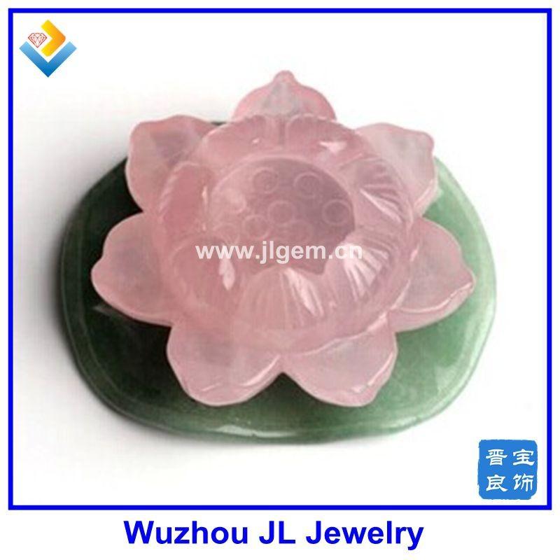 Newest Rose Natural Quartz Crystal Lotus Flower And Green Lotus Leaf Carved Healing Buy Lotus Flower Carved Sculpturenatural Quartz Lotus