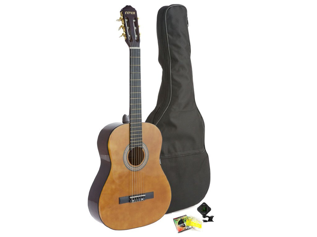 Fever Student Full Size Nylon Classical String Guitar with Bag, Tuner and Strings, C055