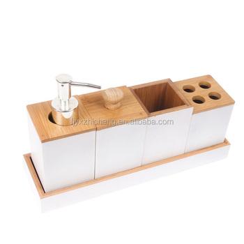 Supply Bamboo Bathroom Accessories Bath Caddy Set Includes Pump
