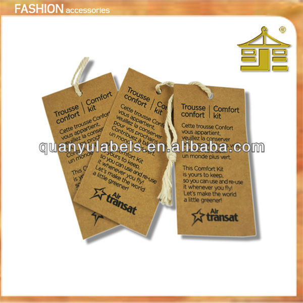 printed brown cardboard swing tag with cotton string in guangzhou