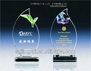 Custom design crystal glass cooperate award trophies CY004