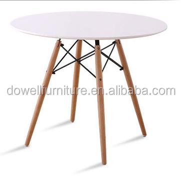 Wood Leg 80 Round MDF Dining Table