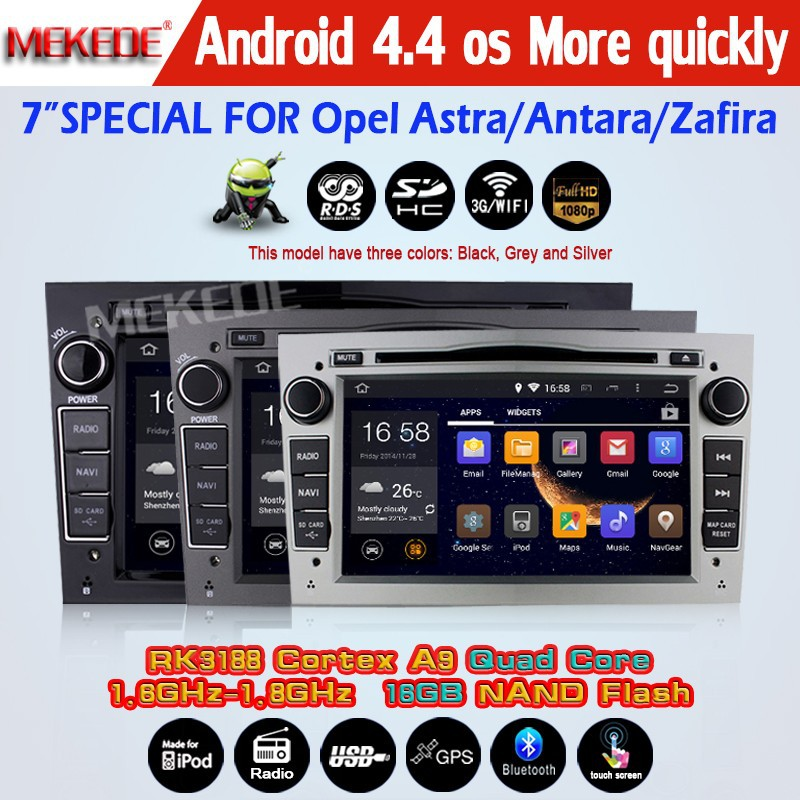 Three colors Newest! Quad Core 2 Din Android 4.4 Car Radio DVD GPS For Opel Astra Corsa Antara Vectra Meriva