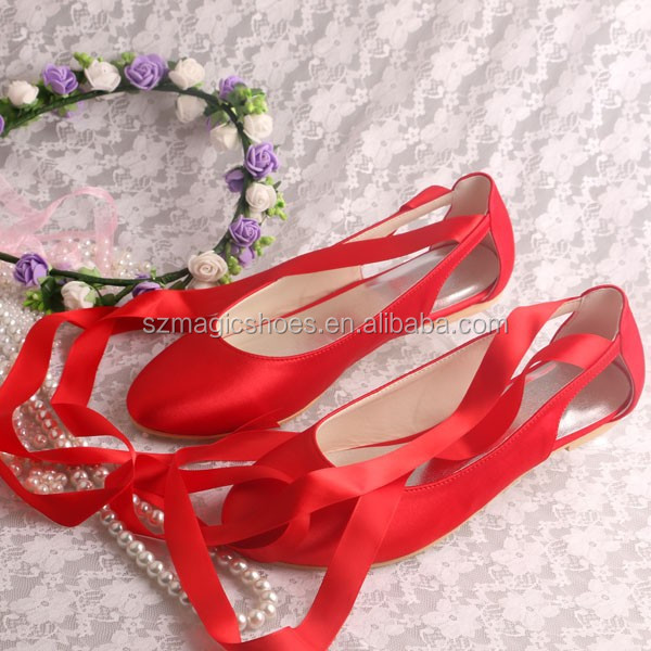 Red Satin Lace Up Ballet Flats - Buy Lace Up Ballet Flats,Red Satin ...