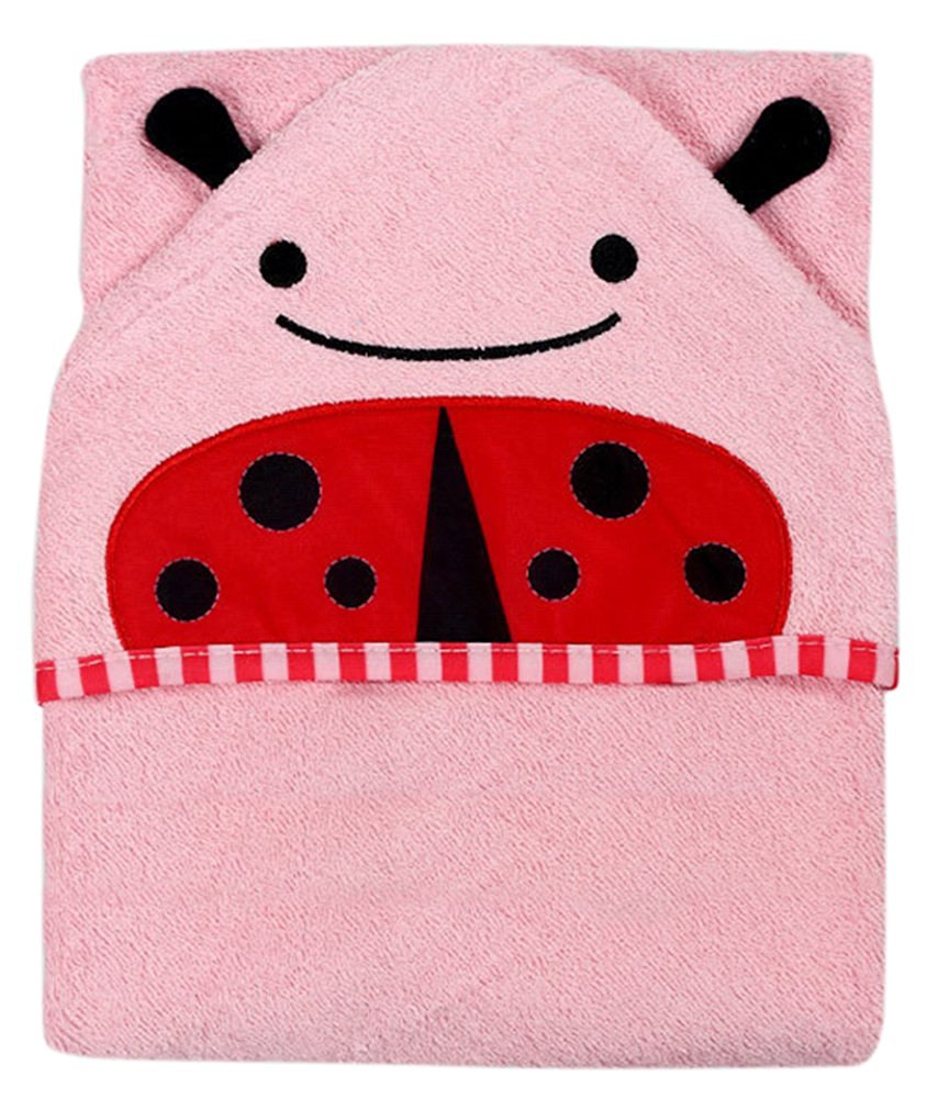 Coco*Store 100% Cotton Cute Kids Animal Character Face Towels (pink beetle)