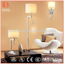 China factory wholesale 201/304 stainless steel table lamp with fabric shade with led reading lights for hotel guest rooms