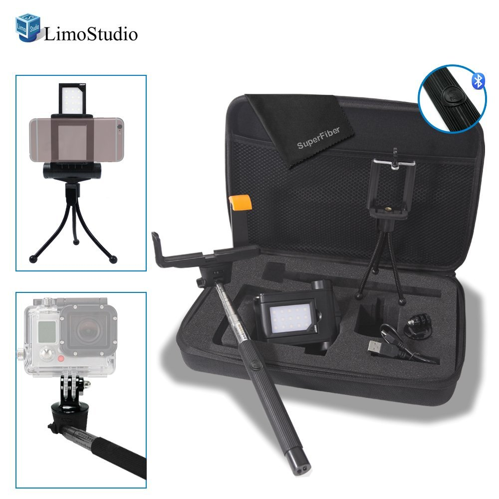 LimoStudio Smart Phone Selfie Accessories Bundle in the Hardshell Carry Bag Kit, Bluetooth Remote Selfie Stick, Cellphone Holder, GoPro Adapter, LED Light, Cleaning Cloth, Water Proof Bag, AGG2072