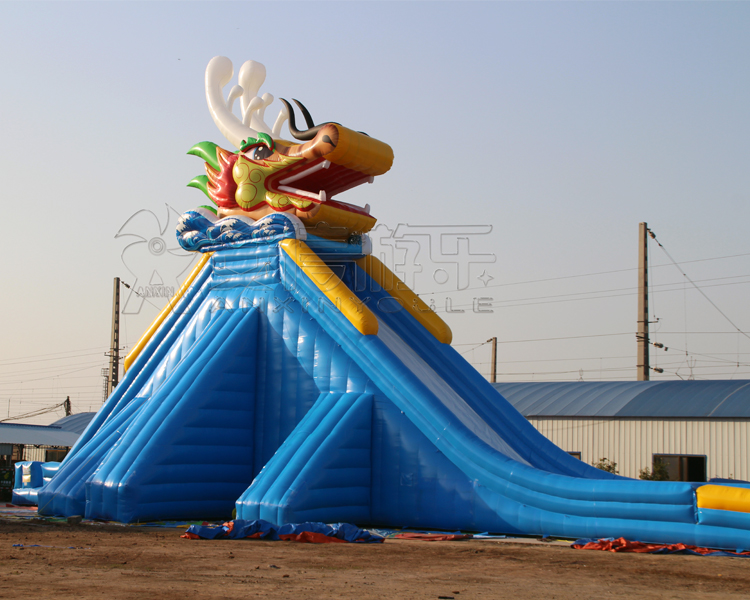 Long Largest adult size hippo inflatable water slide with pool