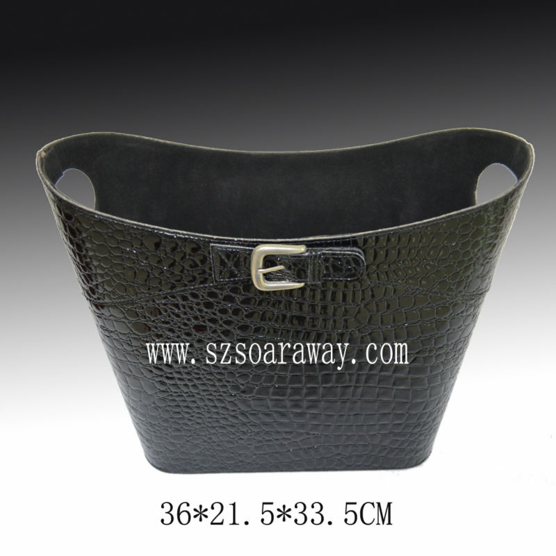 Pu Faux Leather magazine basket with metal handle