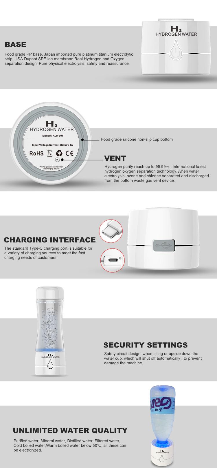 高品質日本 SPE 技術ポータブル水素水イオナイザー純粋なアルカリ水素水