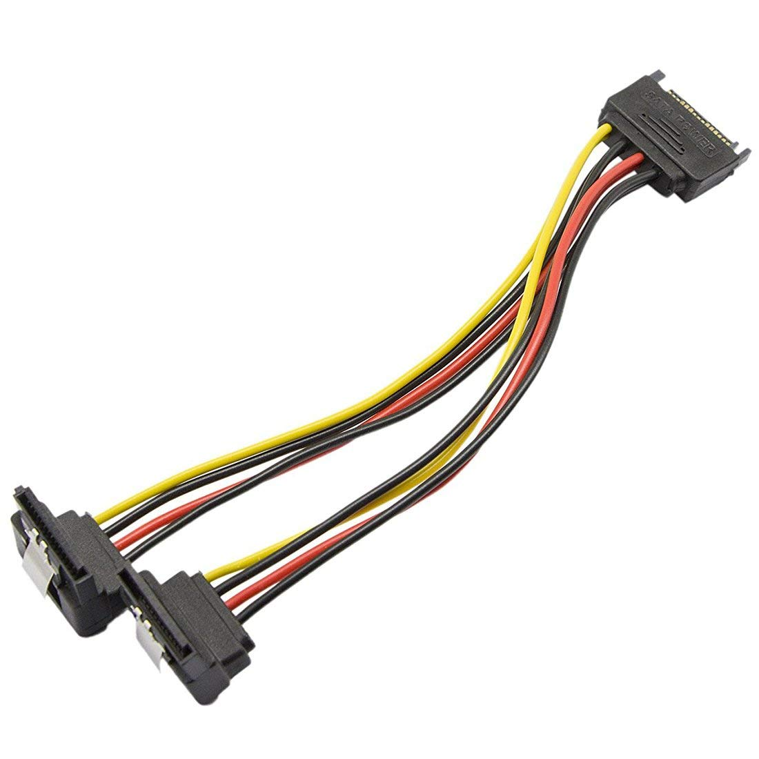 SODIAL SATA 15-Pin Male to 2 x 15-Pin 90 degrees Female SATA 15Pin 1 to 2Power Extension Y Splitter Cable Adapter -7Inch, (2 Pack)