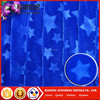 Best quality Navy blue star design embossed home textile microfiber velboa fabric