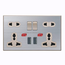 High quality stainless steel double 13A 5 PIN multi functional switch socket +double USB with neon