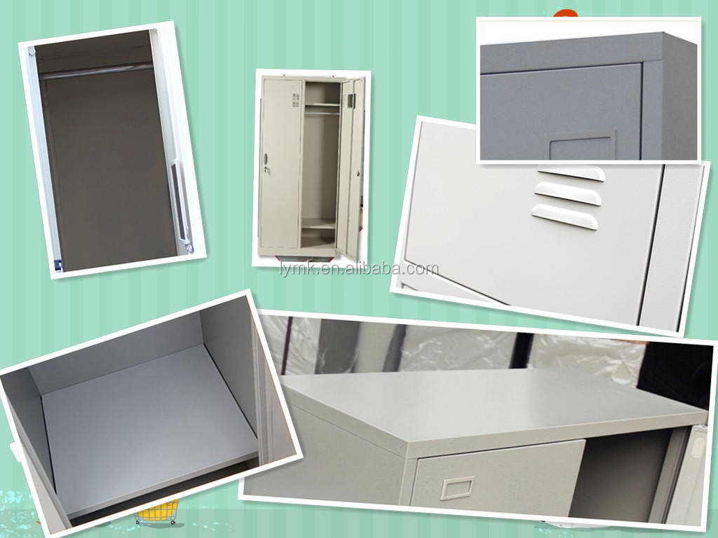 Steel Office Furniture Large Double Door Clothes Storage Locker Cabinet System Used Metal Godrej Almirah
