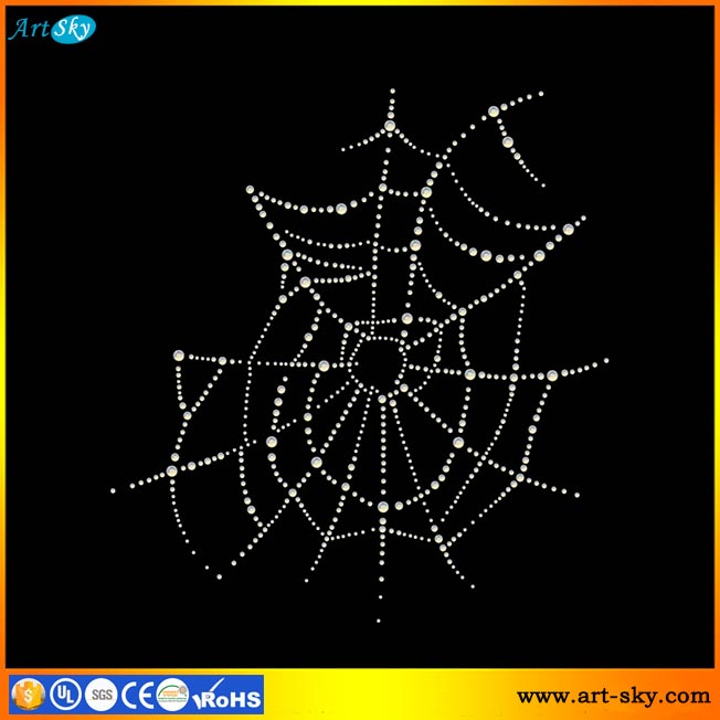 Artsky specializing production hot fix bling crystal Motif spider web transfer paper for clothes