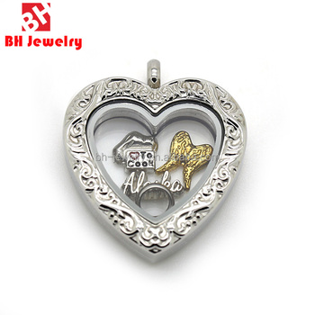 New Design Magnet High Quality 316l Stainless Steel Vintage Glass Locket Memory