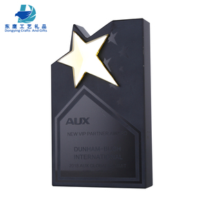 wholesale custom black K9 crystal trophy award with star metal for souvenir gift