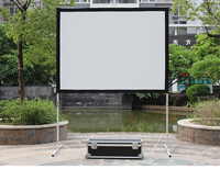 "220"" rear and front fast fold projection screen with draps outdoor projector screen"