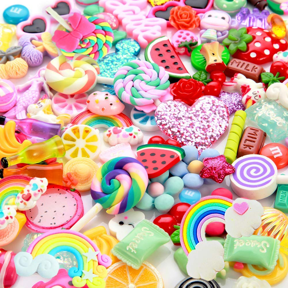 Slime Charms Cute Set- 100pcs Charms for Slime Assorted Fruits Candy Sweets Flatback Resin Cabochons for Craft Making, Ornament Scrapbooking DIY Crafts