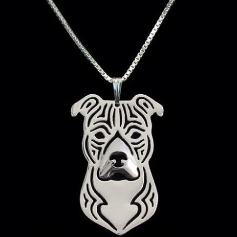 American Staffordshire Terrier 3D Cut Out Dainty Puppy Dog Lover Memorial Pet Necklaces & Pendants