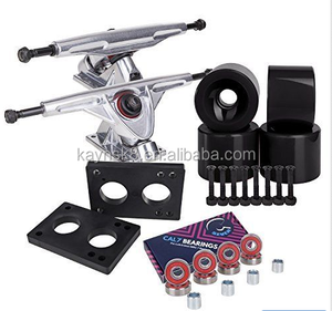 7 Longboard Truck and Wheel Combo Set Silver truck with solid black wheels