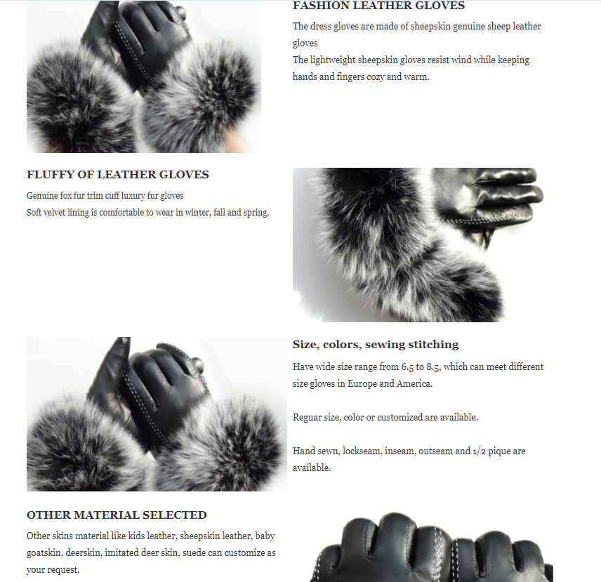 Black Fashion Ladies Dress Touch Screen Sheep Leather Gloves with Fluffy Fox Fur Trim Cuff