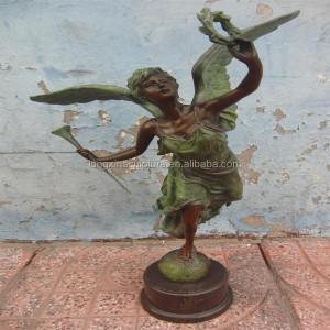 Life Size Angel Statue Beautiful Bronze Girl Statues With Garland