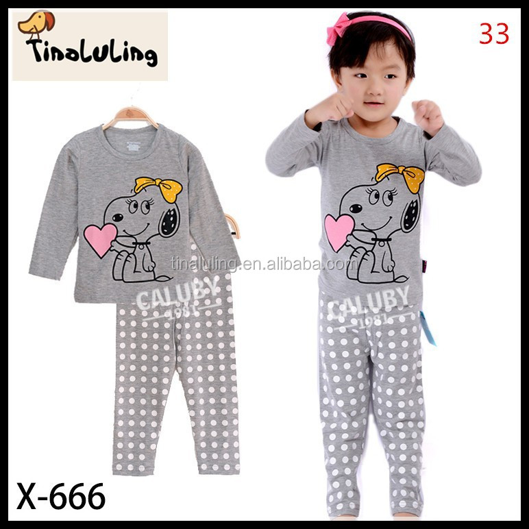 2015 new cartoon dog pajamas t shirt design cheap newborn baby clothing set